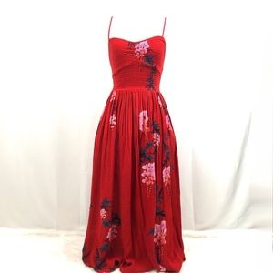 Free People Floral Maxi Dress Summer Red